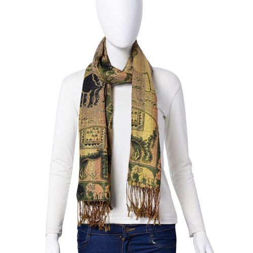 Gold and Multi Colour Elephant Pattern Green Colour Scarf with Tassels (Size 170x70 Cm)