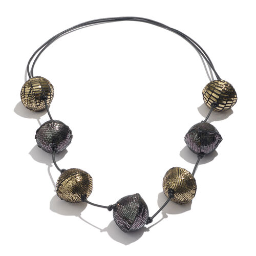Sparkle Black and Golden Colour Adjustable Leather Bead Necklace (Size 28 to 40)