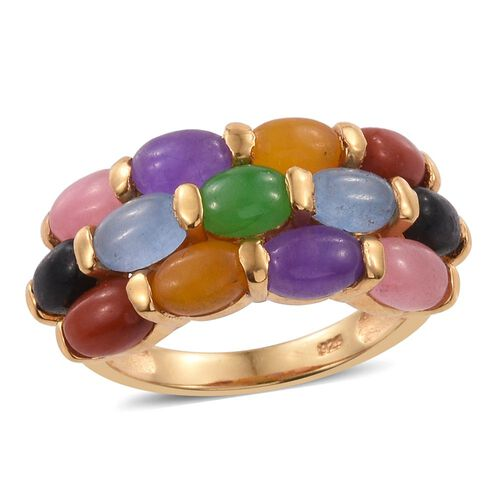 Jade Special- Yellow, Red, Purple, Blue, Pinik, Black and Green Jade (Ovl) Ring in 14K Gold Overlay Sterling Silver 8.750 Ct