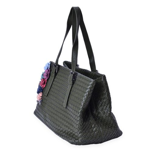 LIMITED COLLECTION Multi Colour 3D Floral and Woven Pattern Green Colour Tote Bag (Size 39x23x22 Cm)
