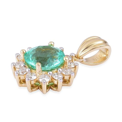 ILIANA 18K Yellow Gold 1.35 Ct AAA Boyaca Colombian Emerald Halo Pendant with Diamond SI G-H