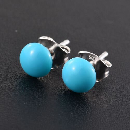 9K White Gold 1.50 Carat Arizona Sleeping Beauty Turquoise Round Ball Stud Earrings (with Push Back)