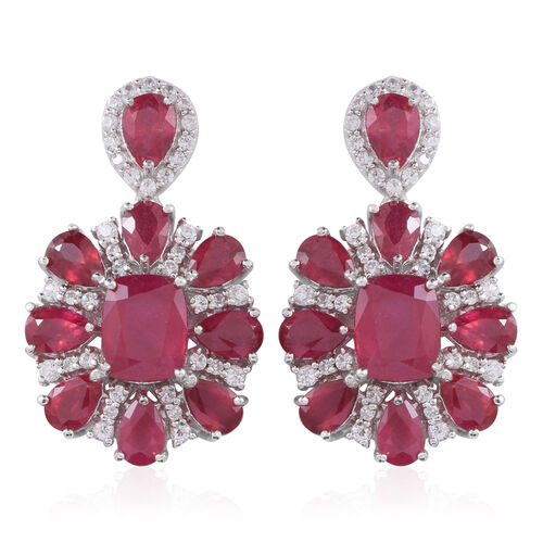 Red Carpet Collection- African Ruby (Cush), Natural White Cambodian Zircon Earrings (with Push Back) in Rhodium Plated Sterling Silver 23.500 Ct.
