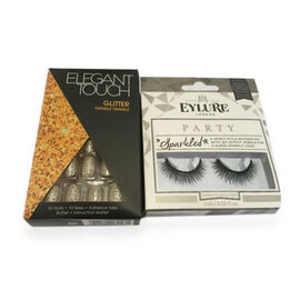 (Option 2) Elegant Touch Glitter Nails Twinkle Twinkle with Eylure Christmas Sparkle Lash Sparkled