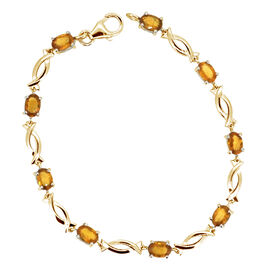 AAA Yellow Sapphire (Ovl) Bracelet in 14K Gold Overlay Sterling Silver (Size 7.5) 6.250 Ct.