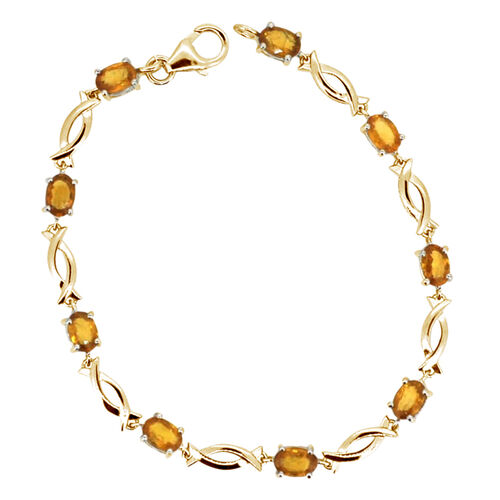 AAA Yellow Sapphire (Ovl) Bracelet in 14K Gold Overlay Sterling Silver (Size 8) 6.250 Ct.