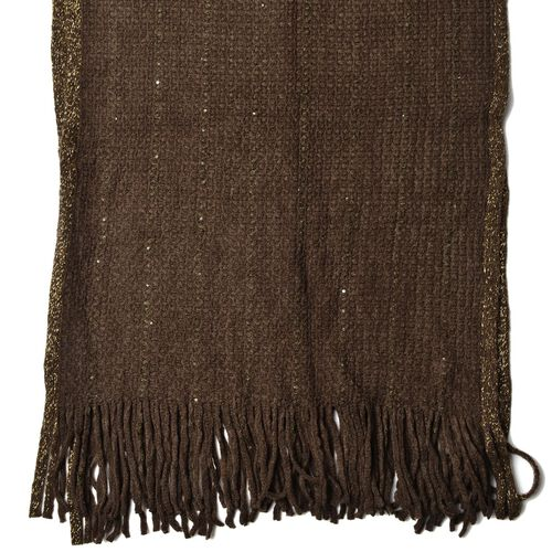 Mud Green Colour Scarf with Sequins and Tassels (Size 160x60 Cm)