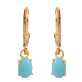 American Turquoise (Ovl) Lever Back Earrings in 14K Gold Overlay Sterling Silver 1.250 Ct.