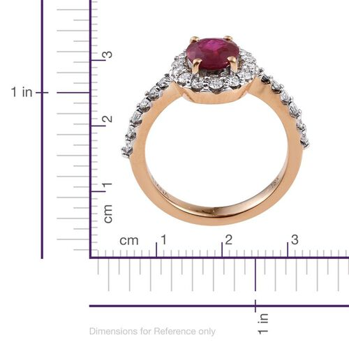 ILIANA 18K Yellow Gold Pigeon Blood Burmese Ruby Engagement Ring 1.90 Carat with Diamond SI G-H.