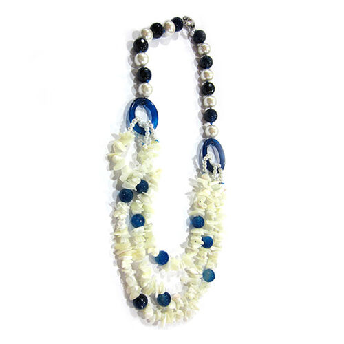 Mother of Pearl, Blue Agate Necklace (Size 36) in Silvertone