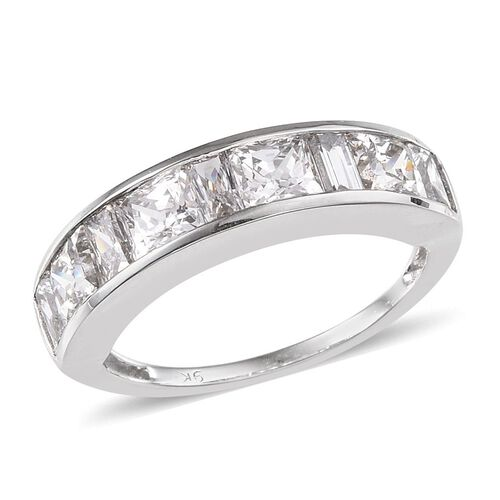 9K W Gold (Sqr) Half Eternity Band Ring Made with SWAROVSKI ZIRCONIA 2.110 Ct.
