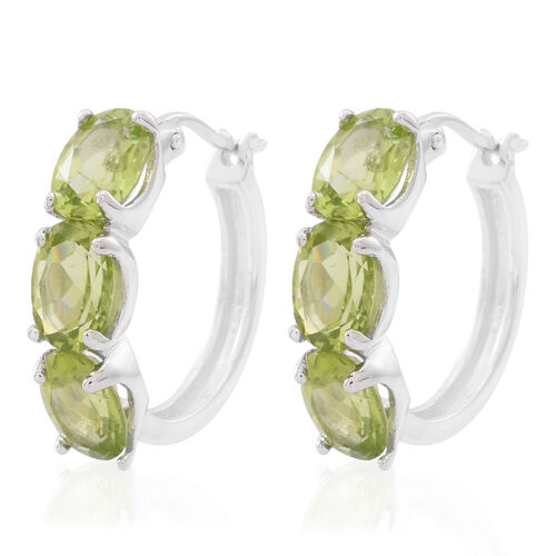 Hebei Peridot (Ovl) Hoop Earrings (with Clasp) in Rhodium Plated Sterling Silver 7.000 Ct.