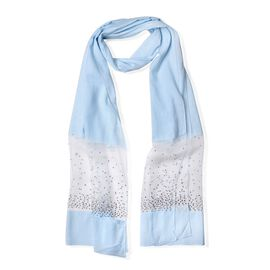 Blue and White Colour Crystal Studded Scarf (Size 195x60 Cm)
