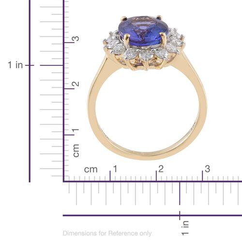 ILIANA 18K Yellow Gold AAA Tanzanite (Ovl 4.00 Ct), Diamond (SI/G-H) Ring 4.750 Ct. SIZE P