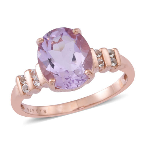 Rose De France Amethyst (Ovl 3.25 Ct), White Topaz Ring in 14K Rose Gold Overlay Sterling Silver 3.500 Ct.