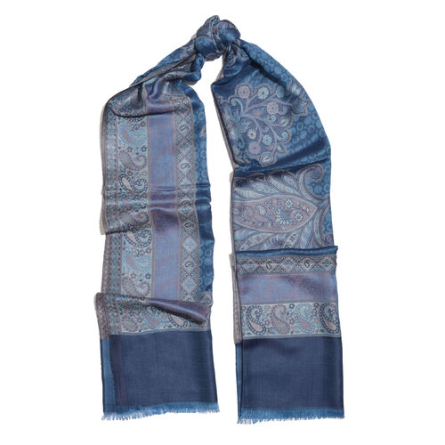 One Time Deal-Jacquard Weave Floral and Paisley Pattern Scarf Navy and Multi Colour Patterns (Size 190X70 Cm)