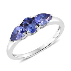 9K White Gold 1.17 Carat AA Tanzanite (Ovl) Ring