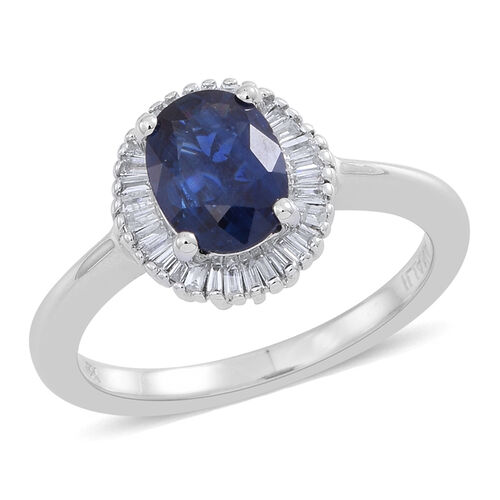 ILIANA 18K W Gold Rare Size AAAA Ceylon Blue Sapphire (Ovl 1.50 Ct), Diamond (SI/G-H) Ring 1.750 Ct.