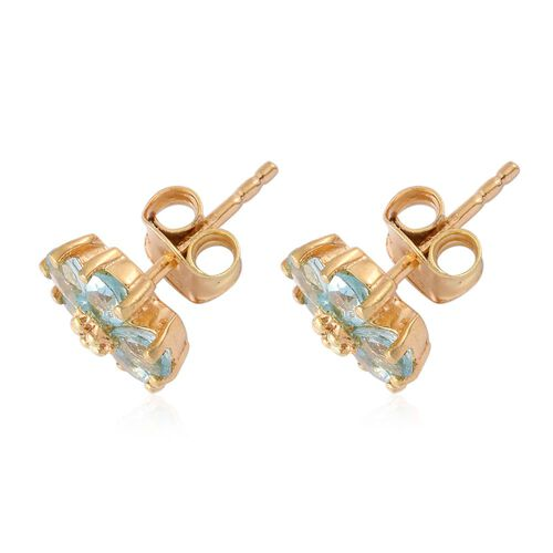 Paraiba Apatite (Pear), Diamond Floral Stud Earrings (with Push Back) in 14K Gold Overlay Sterling Silver 1.750 Ct.