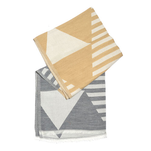 NewYork Designer Collection - Aztec Zigzag Pattern Shawl in Beige, Grey and White Colour with Fringes (Size 190X70 Cm)