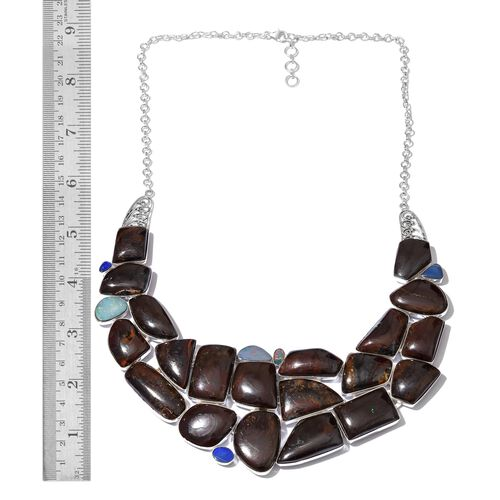 Boulder Opal Rock and Opal Double Necklace (Size 18) in Sterling Silver 616.550 Ct. Silver wt. 65.99 Gms.