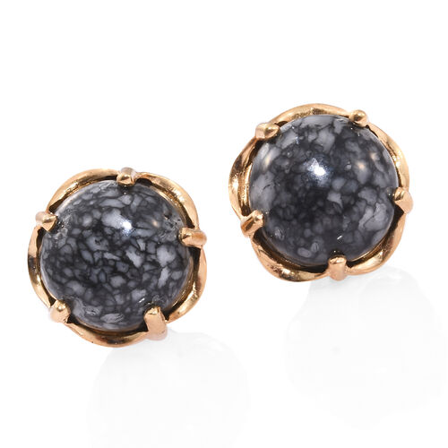 Austrian Pinolith (Rnd) Stud Earrings (with Push Back) in 14K Gold Overlay Sterling Silver 14.500 Ct.