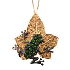GP Russian Diopside (Rnd), Citrine and Kanchanaburi Blue Sapphire Frog on Maple Leaf Pendant with Chain in 14K Gold Overlay Sterling Silver