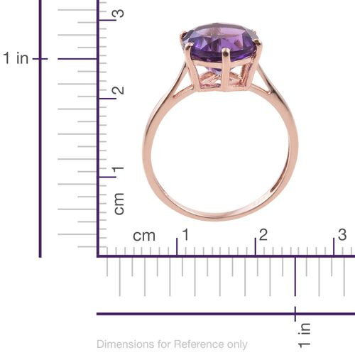 Amethyst 3.25 Ct Silver Solitaire Ring in Rose Gold Overlay Sterling Silver