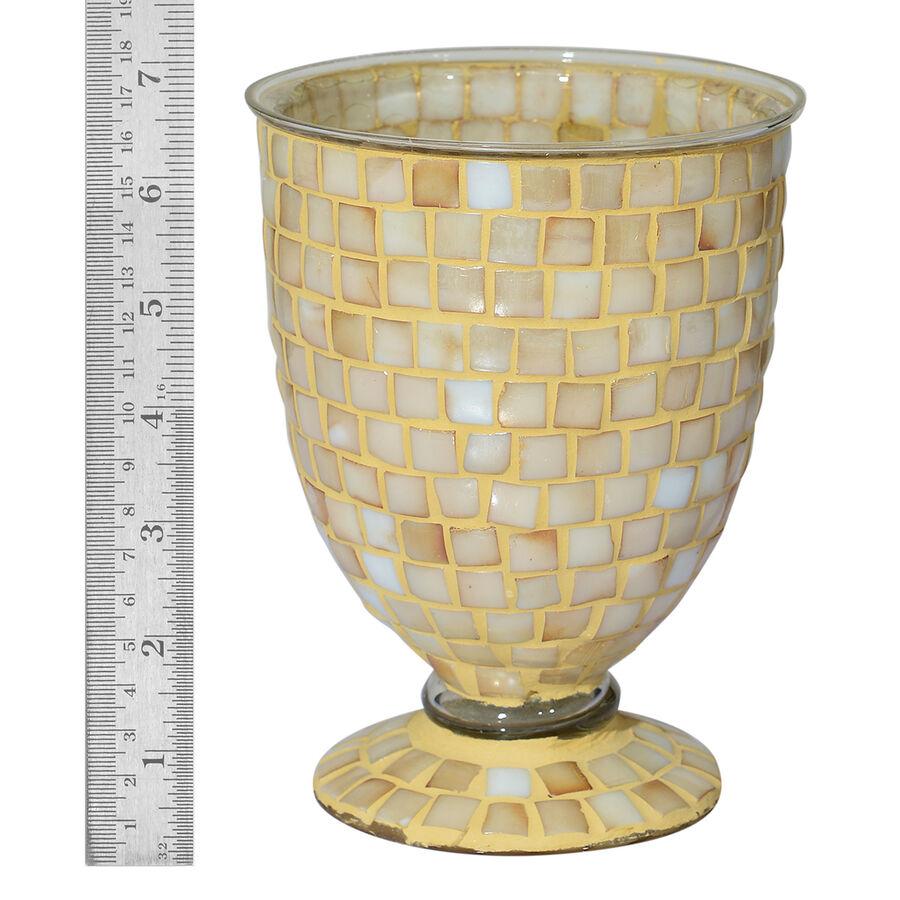 Home decor golden colour mosaic glass flower vase for Mosaic home decor