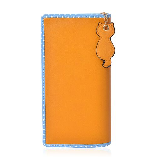 Cat Charm Mustard and Blue Colour Wallet (Size 19x9x3 Cm)