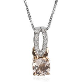 Marropino Morganite (Rnd), White Topaz Pendant with Chain in Rhodium and 9K Rose Gold Overlay Sterling Silver 0.750 Ct.