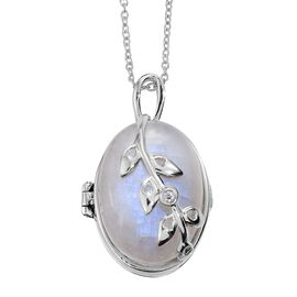 KIMBERLEY Rainbow Moonstone (Ovl), Natural Cambodian Zircon Leaves Locket Pendant with Chain in Platinum Overlay Sterling Silver 32.500 Ct.