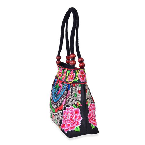 SHANGHAI COLLECTION Black, Green and Multi Colour Floral Embroidered Tote Bag with Beads in Handle (Size 28X23X9.5 Cm)