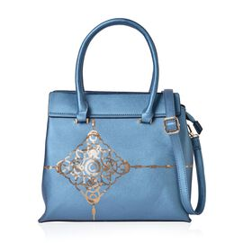 Golden Sequin Pattern Blue Colour Tote Bag with External Zipper Pocket and Adjustable and Removable Shoulder Strap (Size 33X29X13.5 Cm)
