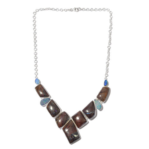 One Off A Kind- Australian Boulder Opal Rock Necklace (Size 18) in Sterling Silver 177.500 Ct. Silver wt 26.00 Gms.