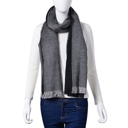 Black and Dark Grey Colour Stripes Pattern 3 Way Wearable Scarf with Fringes (Size 200X75 Cm)