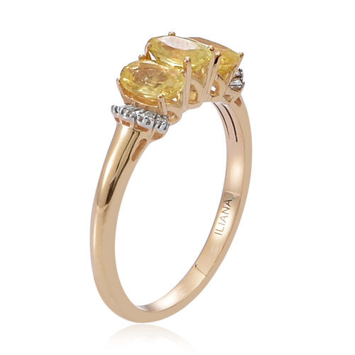 RARE ILIANA 18K Y Gold Yellow Sapphire (Ovl 1.66 Ct), Diamond Ring 1.770 Ct.
