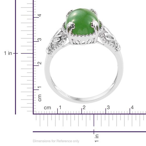 Green Jade (Ovl) Solitaire Ring in Platinum Overlay Sterling Silver 4.250 Ct.