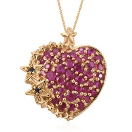 GP Burmese Ruby (Rnd), Boi Ploi Black Spinel and Kanchanaburi Blue Sapphire Heart Pendant with Chain in 14K Gold Overlay Sterling Silver 2.250 Ct.