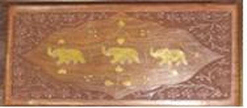 Three Elephant Brass Inlay Indian Rosewood Carved 2 Tier Jewellery Box (Size 10x6x3.75 inch)