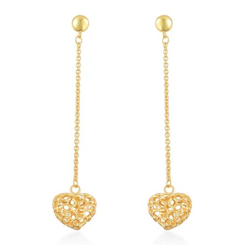 RACHEL GALLEY Yellow Gold Overlay Sterling Silver Amore Heart Lattice Earrings (with Push Back), Silver wt 6.01 Gms.