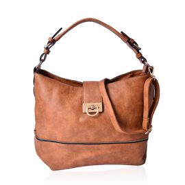 Tan Colour Tote Bag with External Zipper Pocket and Adjustable and Removable Shoulder Strap (Size 40x30x15 Cm)