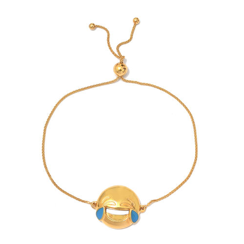 Face with Tears of Joy Smiley Silver Bolo Bracelet (Size 6.5 - 8) in   Gold Overlay