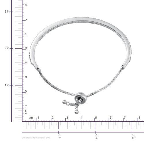 J Francis - Platinum Overlay Sterling Silver (Rnd) Adjustable Bangle (Size 7.5) Made with SWAROVSKI ZIRCONIA