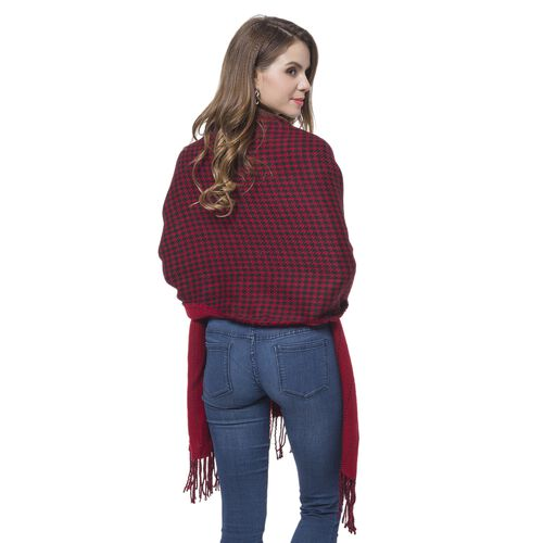 Designer Inspired-Wine Red and Black Colour Houndstooth and Stripe Pattern Knitted Reversible Shawl with Tassels (Size 180X60 Cm)