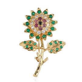 Brazilian Emerald (Rnd), Natural White Zircon, Burmese Ruby, Kanchanaburi Blue Sapphire Brooch in Yellow Gold Overlay Sterling Silver 1.820 Ct. Silver wt 5.35 Gms.