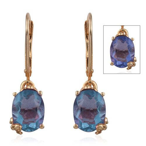 Colour Change Fluorite (Ovl) Lever Back Earrings in 14K Gold Overlay Sterling Silver 4.500 Ct.