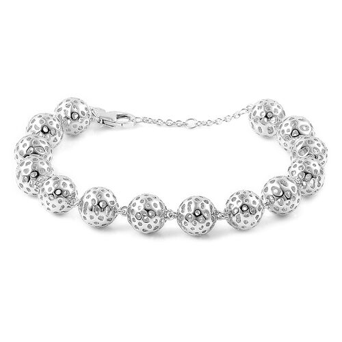 RACHEL GALLEY Rhodium Plated Sterling Silver Lattice Ball Bracelet (Size 8). Silver wt. 21.96 Gms.