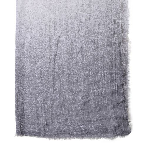 Grey and White Colour Ombre Pattern Scarf with Fringes (Size 180X90 Cm)