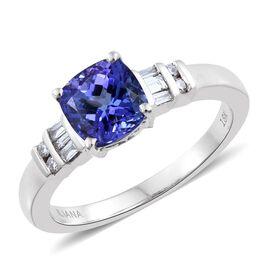 ILIANA 18K White Gold 2 Ct. AAA Tanzanite Ring with Diamond (SI/G-H)